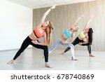 yoga practice exercise class... | Shutterstock . vector #678740869