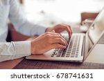 businessman browsing internet... | Shutterstock . vector #678741631