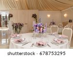 wedding guest table decorated... | Shutterstock . vector #678753295