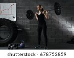 young woman working out using... | Shutterstock . vector #678753859