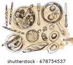 breakfast set. muesli with... | Shutterstock .eps vector #678754537