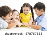 group of school kids studying... | Shutterstock . vector #678757885