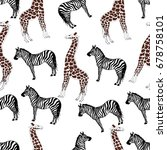 sketch seamless pattern with... | Shutterstock .eps vector #678758101