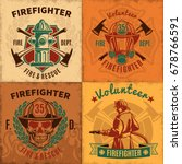 vintage firefighting emblems... | Shutterstock .eps vector #678766591