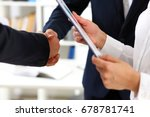 man in suit shake hand as hello ... | Shutterstock . vector #678781741