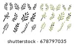 olive brunch set. vector... | Shutterstock .eps vector #678797035