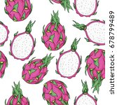 dragon fruit pattern. pitahaya... | Shutterstock .eps vector #678799489