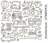set of cute transportation...   Shutterstock .eps vector #678804931