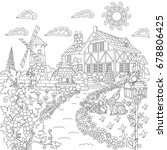 coloring book page of rural... | Shutterstock .eps vector #678806425