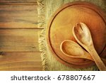 wooden plate on wooden... | Shutterstock . vector #678807667