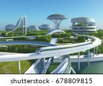 future city on the coast.3d... | Shutterstock . vector #678809815