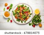 smoked salmon  avocado and... | Shutterstock . vector #678814075