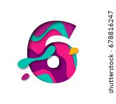 paper cut number six letter.... | Shutterstock .eps vector #678816247