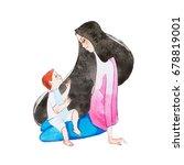 young mother sitting on floor... | Shutterstock . vector #678819001