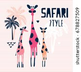 cute giraffes with palm trees... | Shutterstock .eps vector #678827509