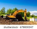 crawler excavator digging... | Shutterstock . vector #678830347