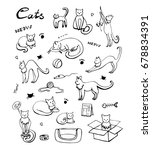 cute cats icons set. hand drawn ... | Shutterstock . vector #678834391