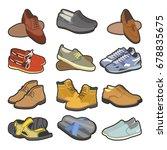 men shoes boots types vector... | Shutterstock .eps vector #678835675