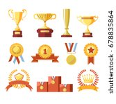 awards cups  winner medals or... | Shutterstock .eps vector #678835864
