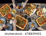 home food and homemade pizza.... | Shutterstock . vector #678839401