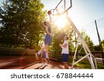 young basketball players have a ... | Shutterstock . vector #678844444