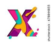 Paper Cut Letter X. Realistic...