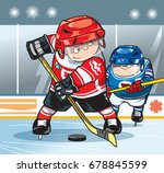 two hockey players on the... | Shutterstock .eps vector #678845599