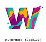 paper cut letter w. realistic... | Shutterstock .eps vector #678851314