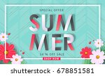 summer sale background layout... | Shutterstock .eps vector #678851581