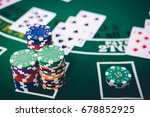 gambling chips and cards on a... | Shutterstock . vector #678852925