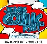 Blue Denim Font On Comic Book...