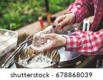 preparation of shish kebab.... | Shutterstock . vector #678868039