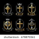 christian crosses emblems set.... | Shutterstock .eps vector #678870361