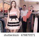 smiling girl with boyfriend... | Shutterstock . vector #678870571
