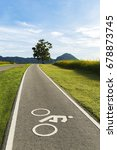scenery bicycle lane on a hill...   Shutterstock . vector #678873745