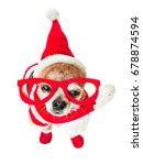cute dog chihuahua in santa... | Shutterstock . vector #678874594