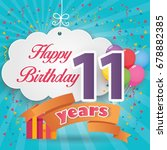 11 st birthday celebration... | Shutterstock .eps vector #678882385