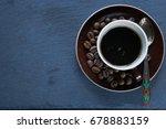 small cup of coffee espresso... | Shutterstock . vector #678883159