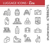 luggage icon set. backpack ... | Shutterstock . vector #678886291