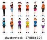 girl avatars with full body | Shutterstock .eps vector #678886924