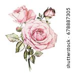 Stock photo watercolor flowers floral illustration in pastel colors bouquet of flowers pink rose leaf and 678887305