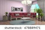 interior living room. 3d... | Shutterstock . vector #678889471