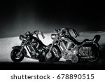 black and white motorcycle... | Shutterstock . vector #678890515