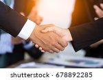 business people shake hand in... | Shutterstock . vector #678892285