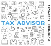 vector line web concept for tax ... | Shutterstock .eps vector #678895261
