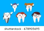 set of cute cartoon tooth... | Shutterstock .eps vector #678905695