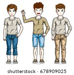 child young teen boys group... | Shutterstock .eps vector #678909025