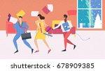 three employee running and... | Shutterstock .eps vector #678909385