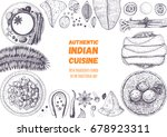 indian cuisine top view frame.... | Shutterstock .eps vector #678923311