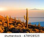 salar de uyuni salt plains with ... | Shutterstock . vector #678928525